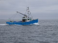 Fishing trawler going to sea